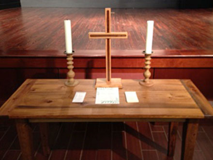 The altar and cross for our New Traditions services.