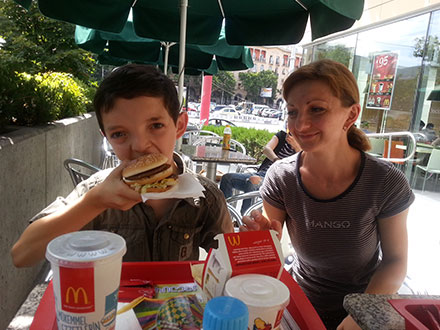 A treat for a Georgian Child. McDonalds after medical testing.